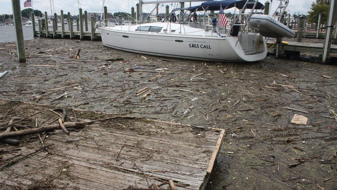"""FILE - In a Wednesday, Aug. 1, 2018 file photo, debris washed into Maryland waters from record rainfall accumulates around a sailboat in Annapolis, Md. Gov. Larry Hogan says Maryland has """"alarming concerns"""" about neighboring Pennsylvania's efforts to meet clean water goals and how falling short will affect the Chesapeake Bay. (AP Photo/Brian Witte, File)"""