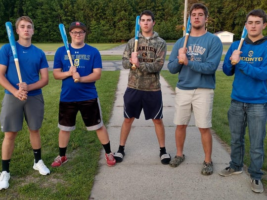 Seniors on the OHS baseball team, Evan Allan, Tony Marquardt, Balin Welch, Lucas Ruechel and Joey Earley each received a custom bat with Oconto Blue Devils, and their name, number, position on it. Missing were Carson Moe, Jake Krueger and Parker James.