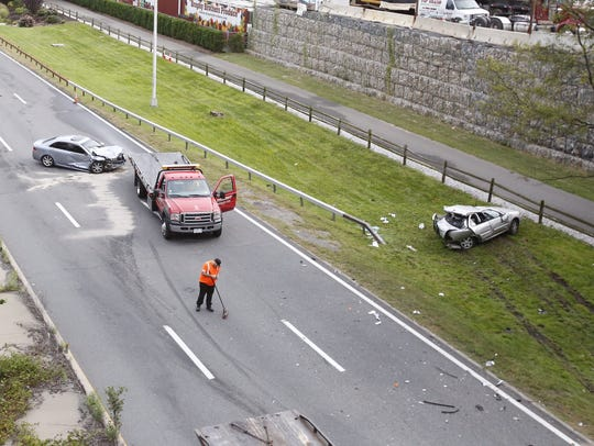 The aftermath of a two-car crash on the northbound