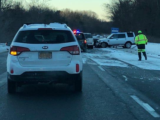 A crash snarls southbound traffic on Interstate 684