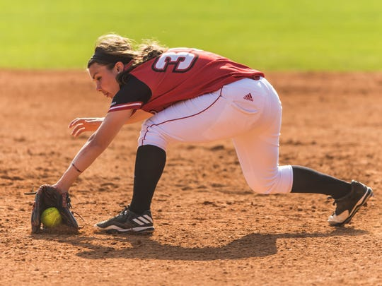 UL first baseman Haley Hayden makes a backhand stab