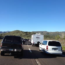 Labor Day traffic on NB SR 87. Standstill due to crash 25 mi. South of Payson, August 29, 2014.