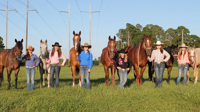 The girls of the Bit and Spur Club in Brevard line up for a picture. From left to right: Rachel McCormick, Kaylynn Gil, Carlie Renfern, Dallas Phillips, Trystyn Tate, and Carlie Cooper.