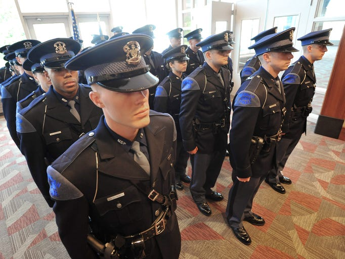 At attention with his classmates, Trooper Blake Ellsworth