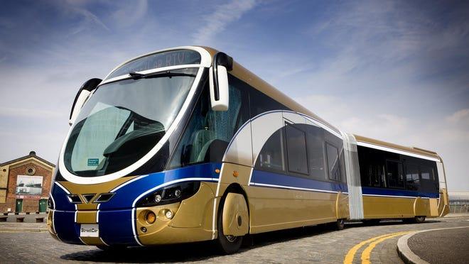 An example of a Bus Rapid Transit vehicle, the WrightBus Streetcar RTV of Las Vegas.