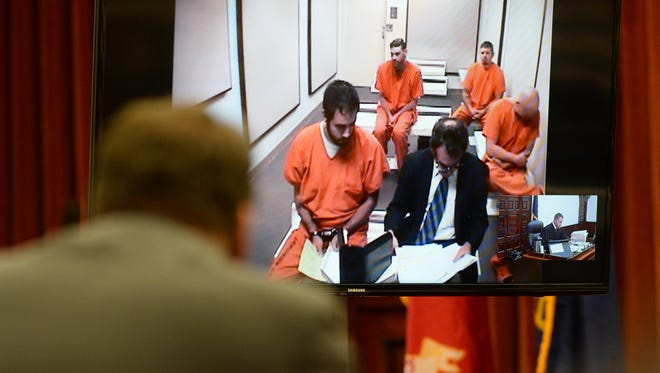 Brandon Craft makes his initial appearance in court from the Cascade County Detention Center on Wednesday afternoon. Craft waived his extradition rights earlier this week and was transported from Washington to Great Falls to face charges of deliberate homicide, evidence tampering and exploitation of an older person, incapacitated person or person with a developmental disability in connection with the death of Adam Petzack.
