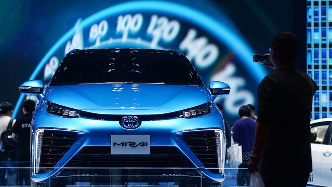A Toyota Mirai at the 16th Shanghai International Automobile Industry Exhibition in Shanghai on April 22, 2015.