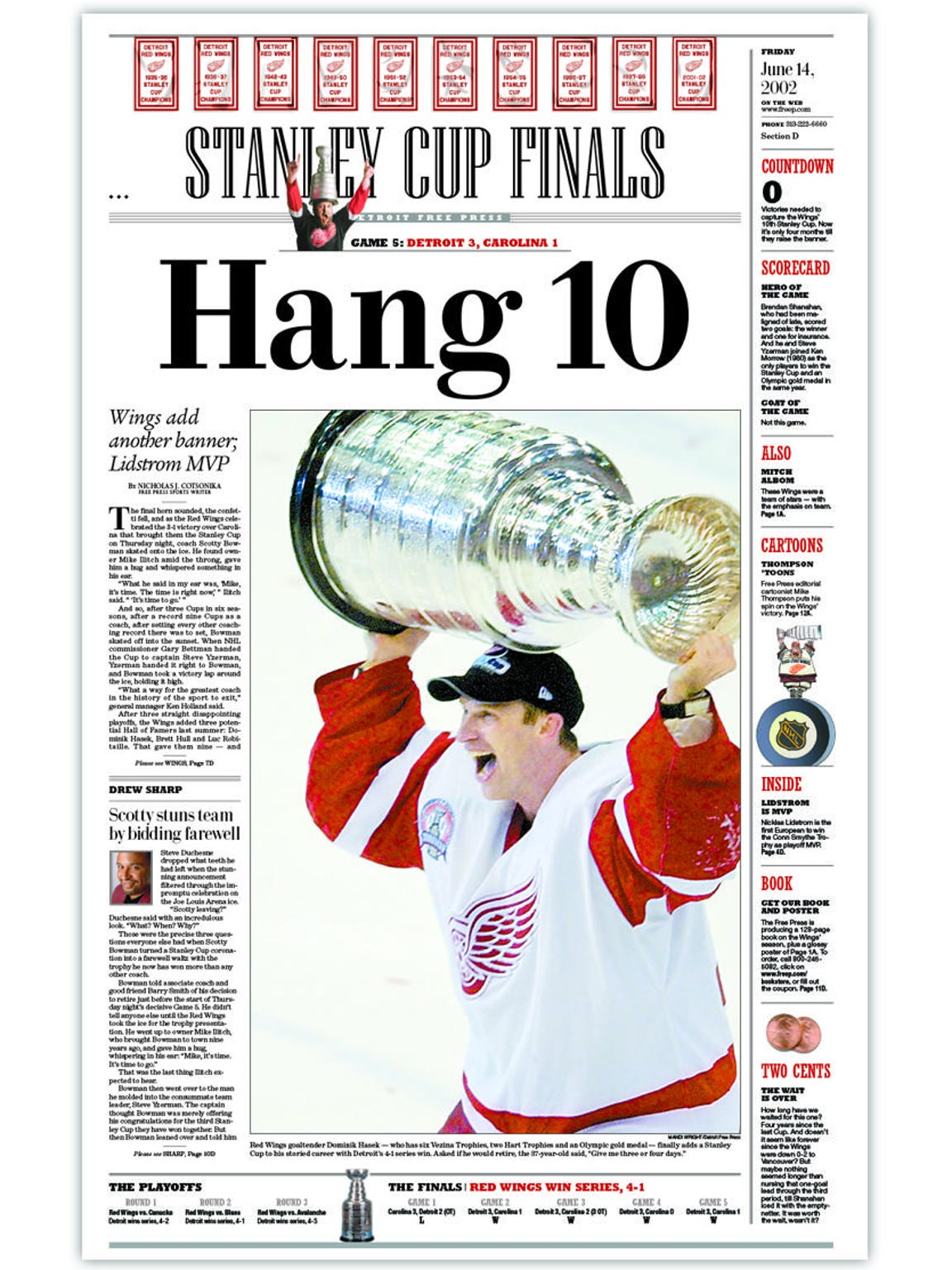 2002, Red Wings win Stanley Cup (this was sports section's