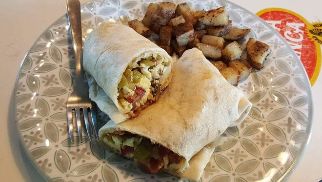 The Breakfast Wrap with papas ($7) at The Bean Cafe of Mesilla.