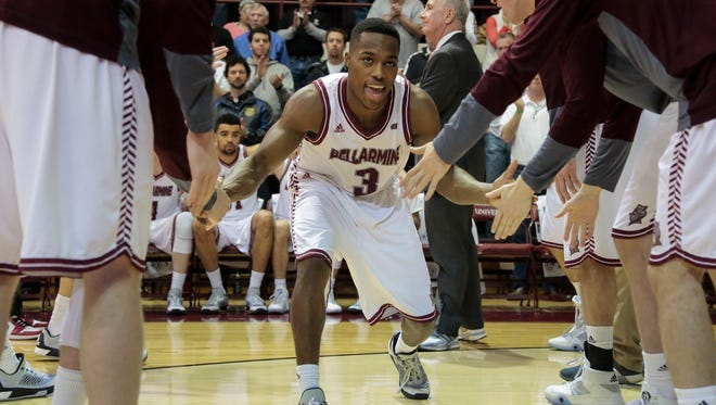 Bellarmine's Al Davis (3) makes his way to the court before playing University of Indianapolis, Sat., Jan. 30, 2016, at Bellarmine's Knights Hall in Louisville, Ky.