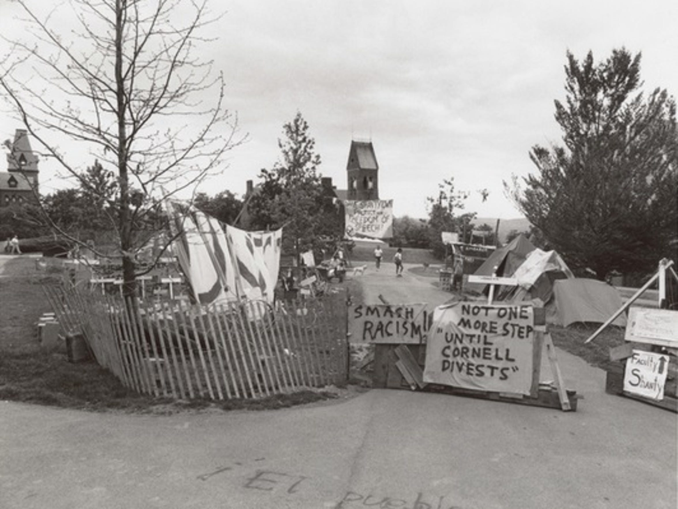 """Students and faculty built a """"shanty town"""" made of"""