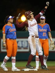 Florida State sophomore Carsyn Gordon celebrates hitting a double against Florida in front of a record crowd at JoAnne Graf Field on Wednesday.