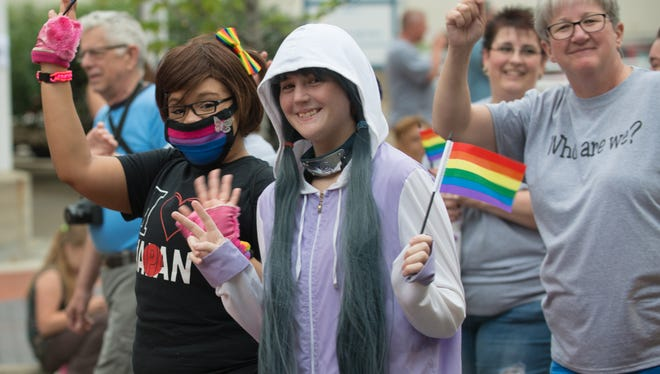 Supporters of Battle Creek Pride march during the Cereal Festival parade in 2015. The organization will host its inaugural parade celebrating the LGBTQ community this weekend in downtown Battle Creek.