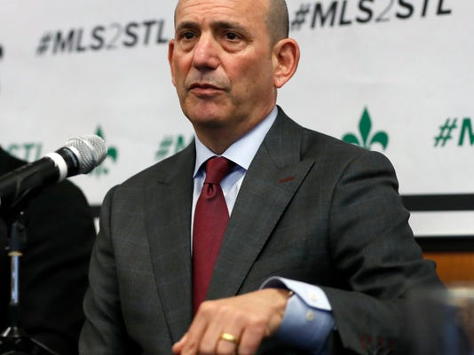 FILE - In this Monday, March 27, 2017, file photo, Major League Soccer commissioner Don Garber speaks during a news conference in St. Louis.  The Major League Soccer 2017 expansion tour continues this week with  official league visits to North Carolina. Nashville seemed to make a strong case last week when Garber went to the city in conjunction with the U.S. national team's Gold Cup match against Panama. (AP Photo/Jeff Roberson, File)