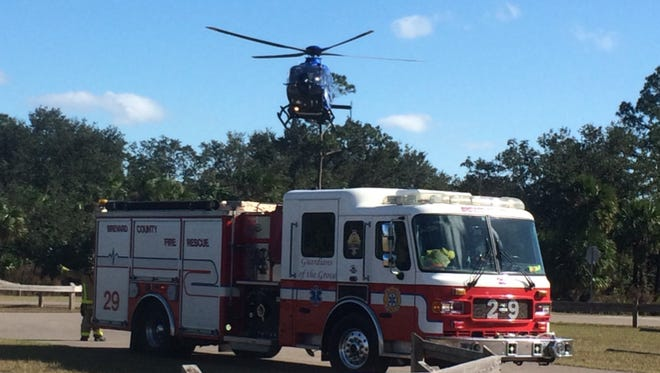 Holmes Regional First Flight takes off from Fay Lake Wilderness Park in Port St. John after receiving a call to transport a teen who was injured in an ATV crash.