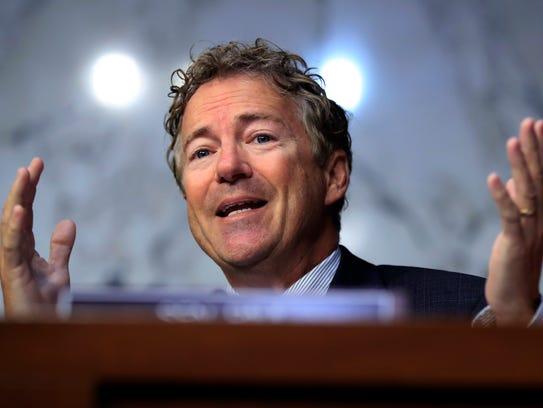 Sen. Rand Paul, R-Ky., takes part in a Health, Education,