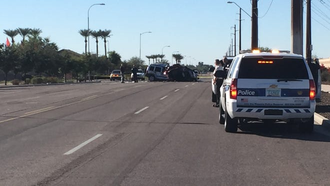 A fiery crash at 31st and Southern avenues in Phoenix killed one man and critically injured a woman Sunday afternoon, officials said.