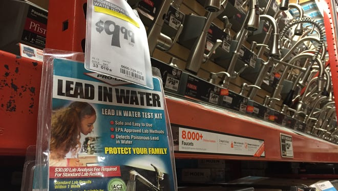Drinking water test kits, like this one to detect lead contamination, are sold in home improvement stores.