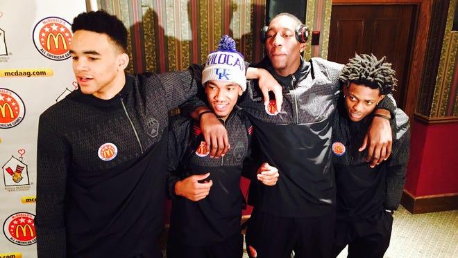 Kentucky's four McDonald's All-Americans (left to right) Sacha Killeya-Jones, Malik Monk, Bam Adebayo and De'Aaron Fox, clown around before Tuesday's practice.