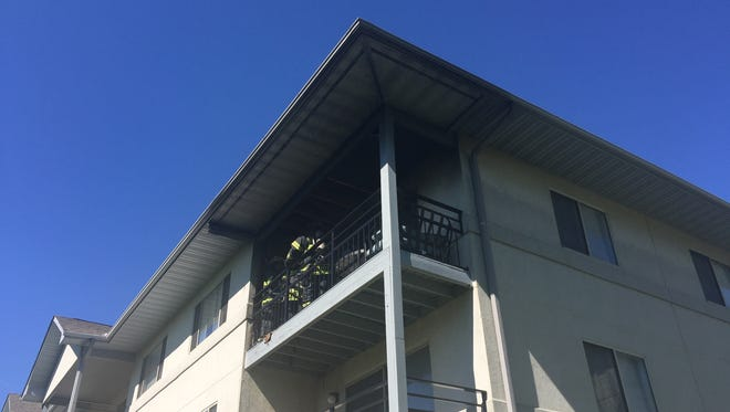 A fire appeared to have started on the balcony of an apartment at Valley Stream Apartments in Newark.