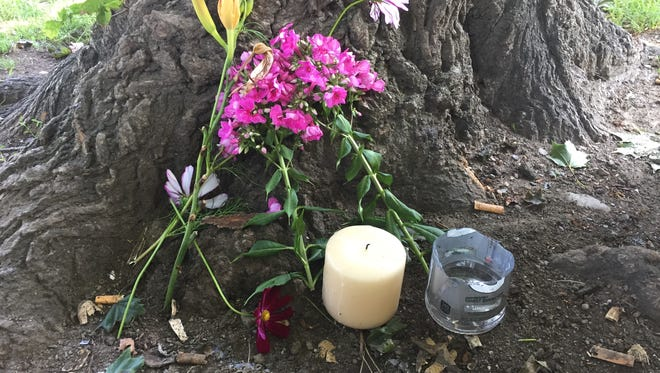 A small memorial in Mansion Square Park in the City of Poughkeepsie near the supposed location of the lightning strike that killed one and injured four others.