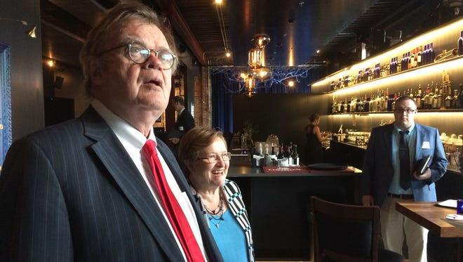 Garrison Keillor appears with Democratic Senate candidate Patty Judge at a Des Moines fundraiser on Wednesday, Sept. 21, 2016.