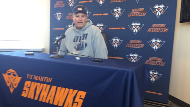 UT Martin head football coach Jason Simpson discusses the upcoming game at Jacksonville State at his weekly press conference Monday.