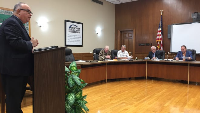 Scott Martinez, president of the North Louisiana Economic Partnership, addressed the Ouachita Parish School Board on behalf on International Paper on Tuesday.
