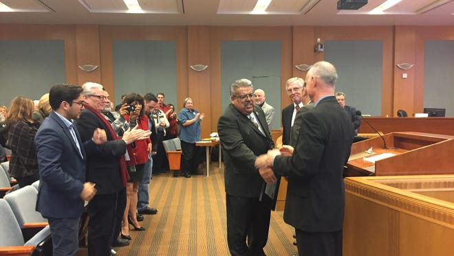 Outgoing District 1 Board of Supervisor Fernando Armenta is showered with gratitude and farewells at Tuesday's Board of Supervisors meeting.