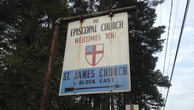 This sign points the way to St. James, one of seven Episcopal Churches on Virginia's Eastern Shore that took out a newspaper advertisement after the 2016 Presidential election. The advertisement stated that churches are 'safe places of tolerance, compassion, understanding and dialogue.'