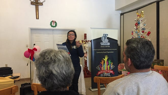 Luz Gallegos, of TODEC Legal Center, hosts a know-your-rights workshop for immigrants living in the Coachella Valley. The workshop was at the United Methodist Church of Desert Hot Springs.