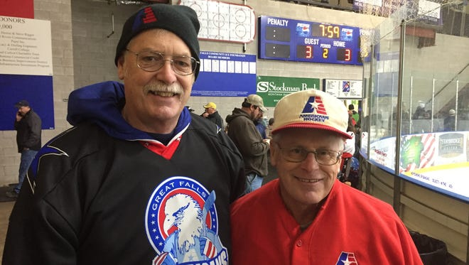 Hockey fans Gary Geiger (left) and Jeff Cunniff were in attendance at Friday's NA3HL first round playoff game at the Great Falls IcePlex.