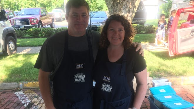 Casey and Katrina Wilson of Zanesville's Wilson's Family Farm can regularly be found at the Granville Farmers Market.