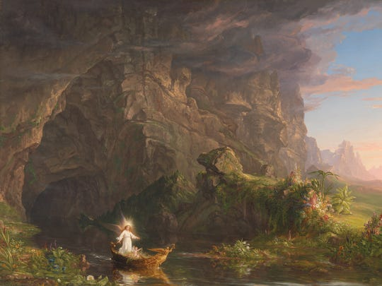"""""""The Voyage of Life: Childhood"""" (1839-40). From the Taft's explanation: """"The joyful infant – representing the human being or everyman – embarks in an elaborately decorated boat on the stream of life. A guardian angel who appears in each of the four paintings accompanies the child."""""""