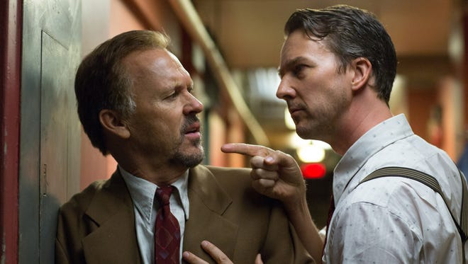 """Michael Keaton and Edward Norton in """"Birdman,"""" out Friday."""