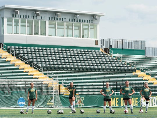 The UVM women's soccer team practices at Virtue Field on Thursday afternoon August 17, 2017 in Burlington.