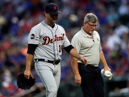 Tigers pitcher Anibal Sanchez leaves the game after