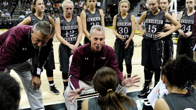 MIKE LAWRENCE / THE GLEANER Henderson County head coach Jeff Haile talks to the Lady Colonels during a timeout at Thursday's first round game of the Girls Sweet 16 Tournament Thursday afternoon at Northern Kentucky's BB&T Arena, March 10, 2016.