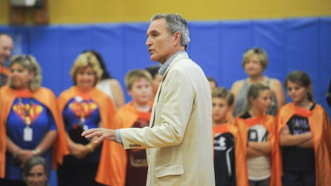 Knox County Schools Interim Superintendent Buzz Thomas helps kick off the coupon book sales campaign Thursday, Sept. 8, 2016, at Bonny Kate Elementary School.