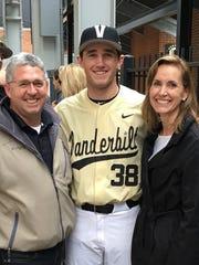 Vanderbilt baseball player Matt McGarry with mother