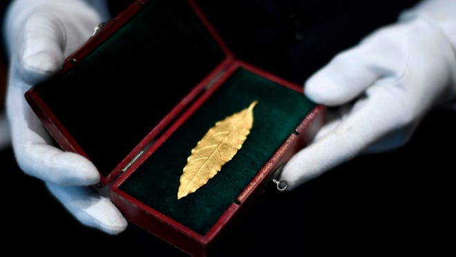 This picture taken on Nov. 15 in Paris shows a gold laurel leaf from the coronation crown of Emperor Napoleon I. The gold leaf is due to be auctionned at the Osenat auction house in Fontainebleau on November 19.