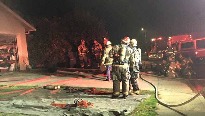 A home on Wellington Place in Shasta Lake suffered serious damage in a fire Tuesday night.