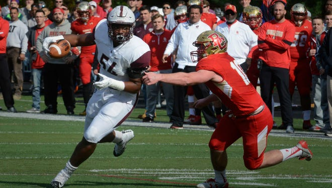 Don Bosco defensive lineman Tyler Friday (54) intercepted a pass in an overtime victory against Bergen Catholic in 2016.