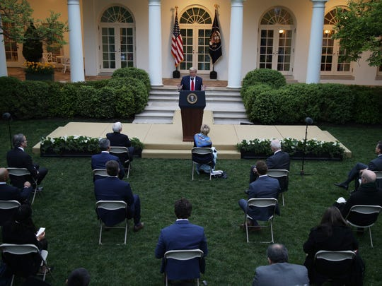 WASHINGTON, DC - APRIL 14: U.S. President Donald Trump speaks during the daily briefing of the White House Coronavirus Task Force in the Rose Garden at the White House April 14, 2020 in Washington, DC. President Trump announced that he is halting funding for World Health Organization WHO.  (Photo by Alex Wong/Getty Images)