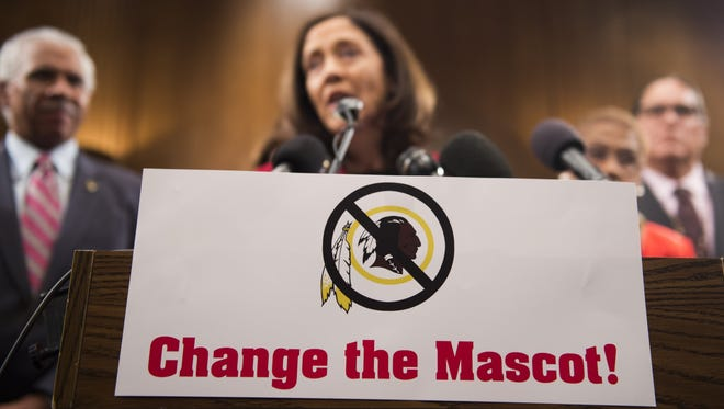 """US Senator Maria Cantwell, D-Washington, speaks about the """"Change the Mascot"""" campaign during a press conference with Oneida Indian Nation leaders on Capitol Hill in Washington, DC, September 16, 2014. """"Change the Mascot"""" is a national campaign to end the use of the racial slur Redskins as the mascot and name of the NFL team in Washington, DC. Launched by the Oneida Indian Nation, the campaign calls upon the NFL and Commissioner Roger Goodell to do the right thing and bring an end the use of the racial epithet."""