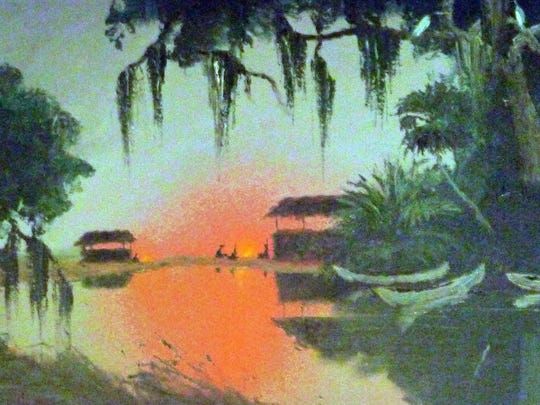 """Seminole Camp"" by Florida Highwaymen artist Alfred Hair"