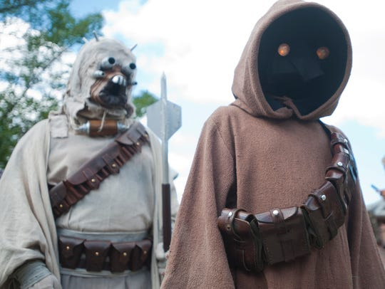 Members of the 501st Legion, a Star-Wars reenactment