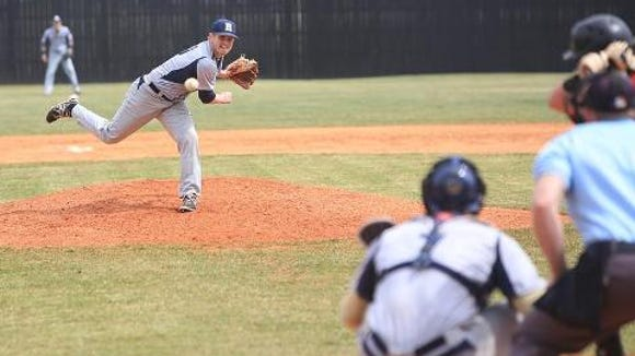 Ryan Goode pitches Saturday in the North Buncombe-Roberson baseball game.