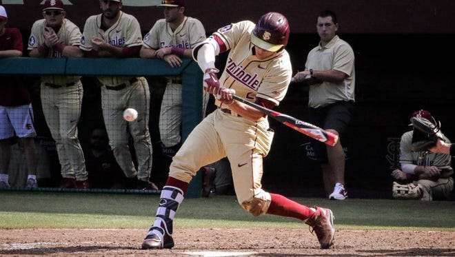 Jackson Lueck (2) swings for the fences against Oakland this weekend at Dick Howser Stadium in Tallahassee, FL.