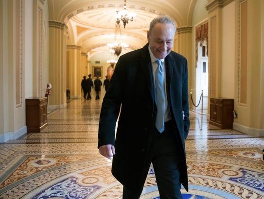 Senate Minority Leader Chuck Schumer, D-N.Y., arrives